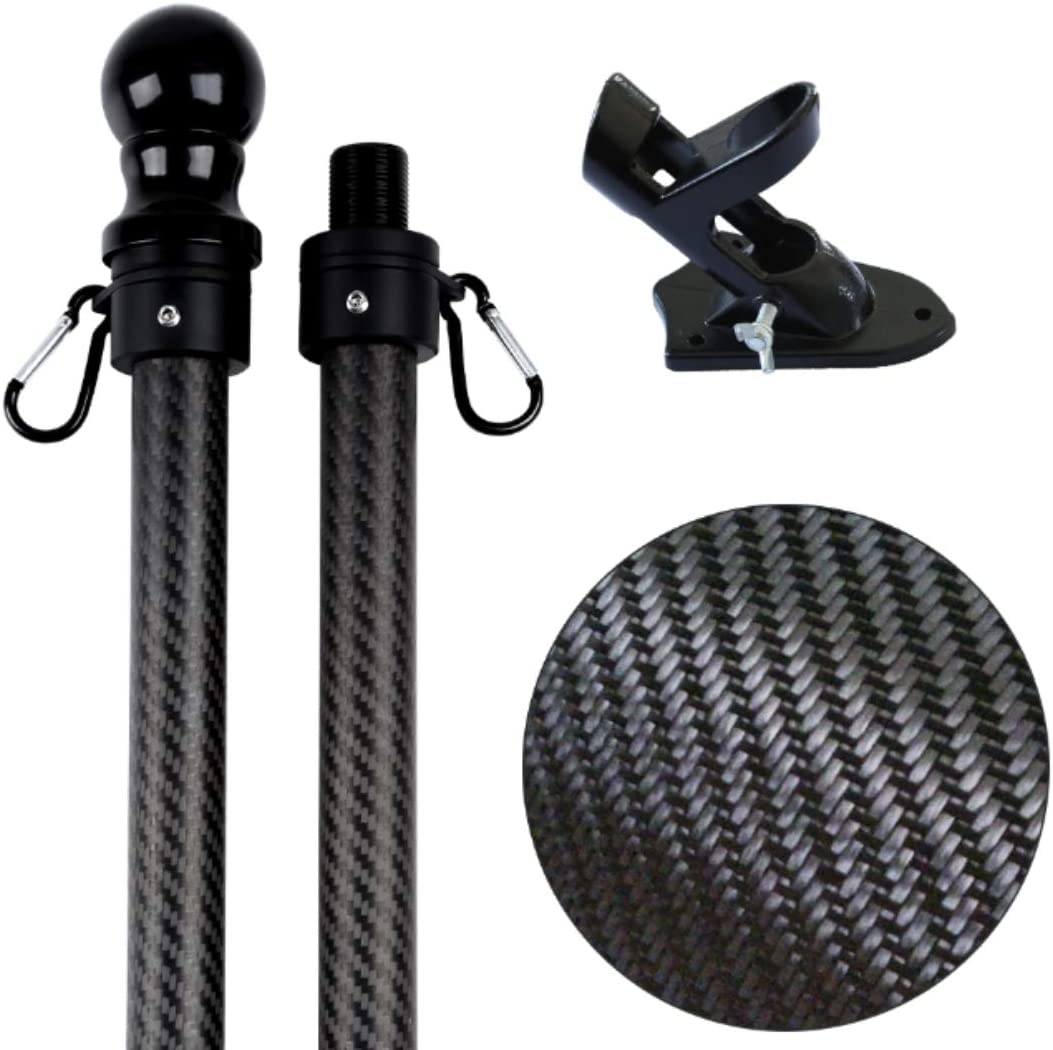 HIBLE 5ft Real Carbon Fiber Black Wall Mount American flagpole Set for Garden,Yard,Business and Residential. Wind Resident and Rust Free Flag Pole with Bracket and Tangle Free Rings