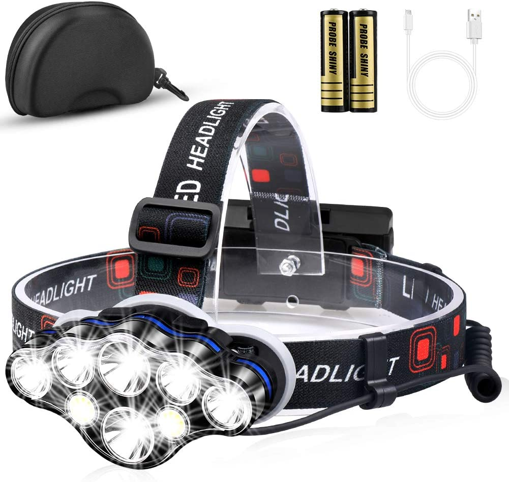 Headlamp Flashlight, MOICO 13000 Lumens Brightest 8 LED USB Rechargeable Headlight with White Red Light, 8 Modes Waterproof Head Lamp for Outdoor Camping Cycling Running Fishing - -