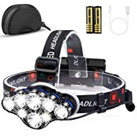 Headlamp Flashlight, MOICO 13000 Lumens Brightest 8 LED USB Rechargeable Headlight with White Red Light, 8 Modes…