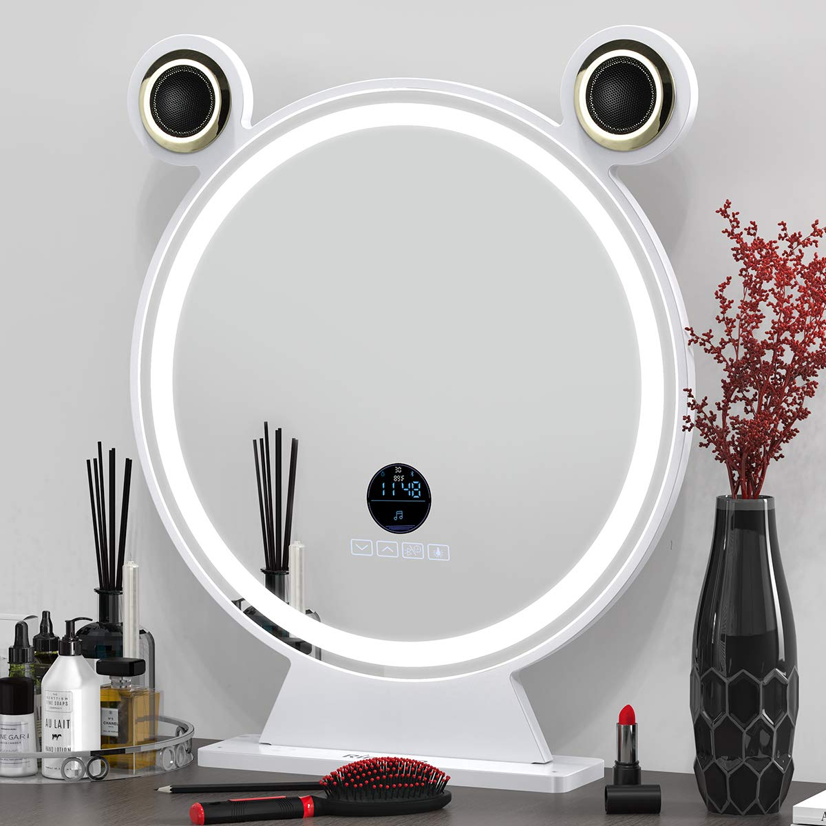 RINKMO Large Vanity Makeup Mirror with Lights and Bluetooth Speaker, Smart Touch Control HD Lighted Mirror LED Screen with 3 Colors Adjustable Brightness Detachable Tabletop Mirror