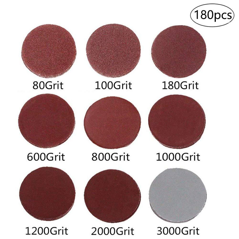180-Pack 3 inch Sander Disc, DeSS Aluminium Oxide Hook & Loop Sanding Discs 20PCS Each of 80/100/ 180/600 /800/1000 /1200/2000 /3000 Grit