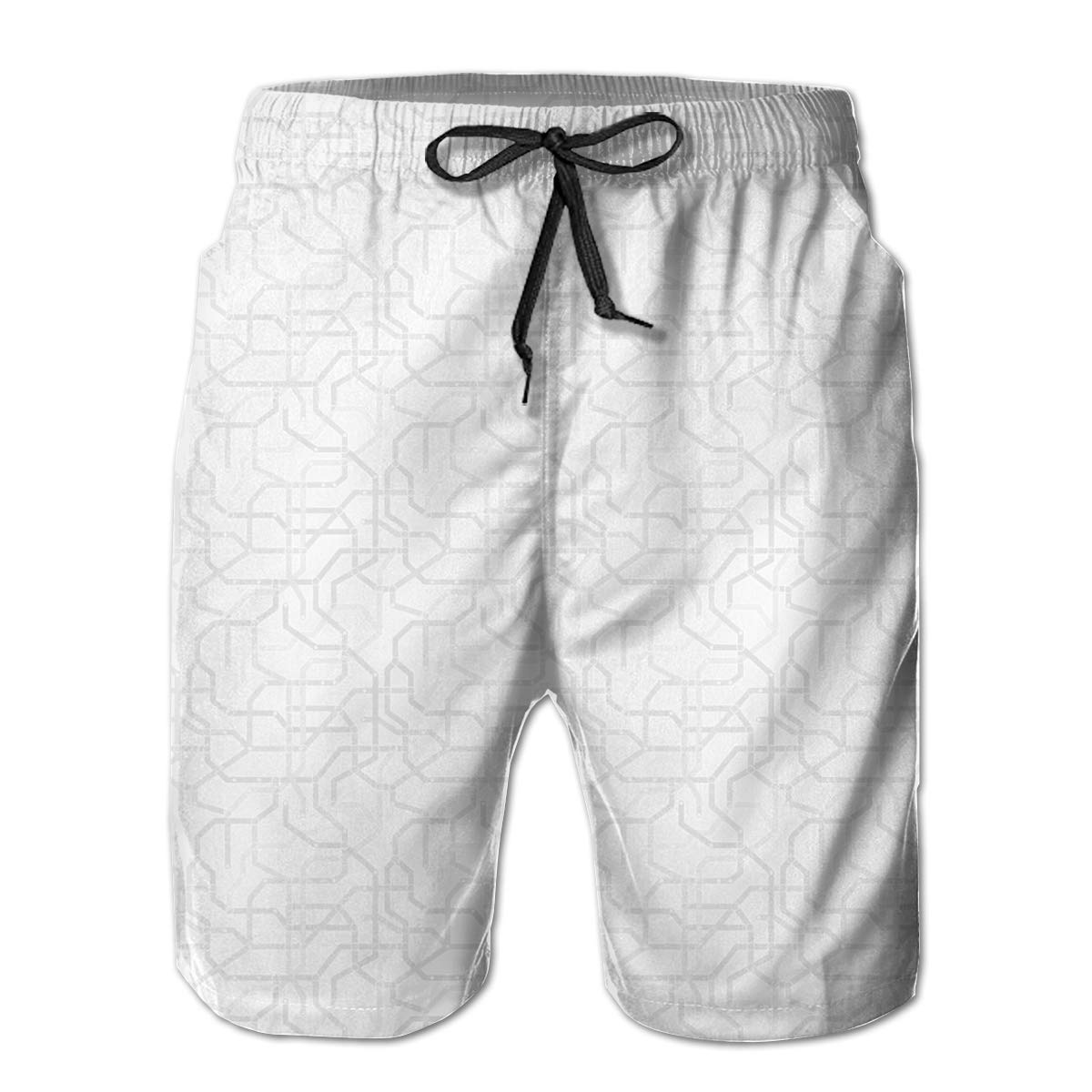 Polyester Gray and White Metro Pattern Board Shorts with Pockets Mens Athletic Swim Trunks