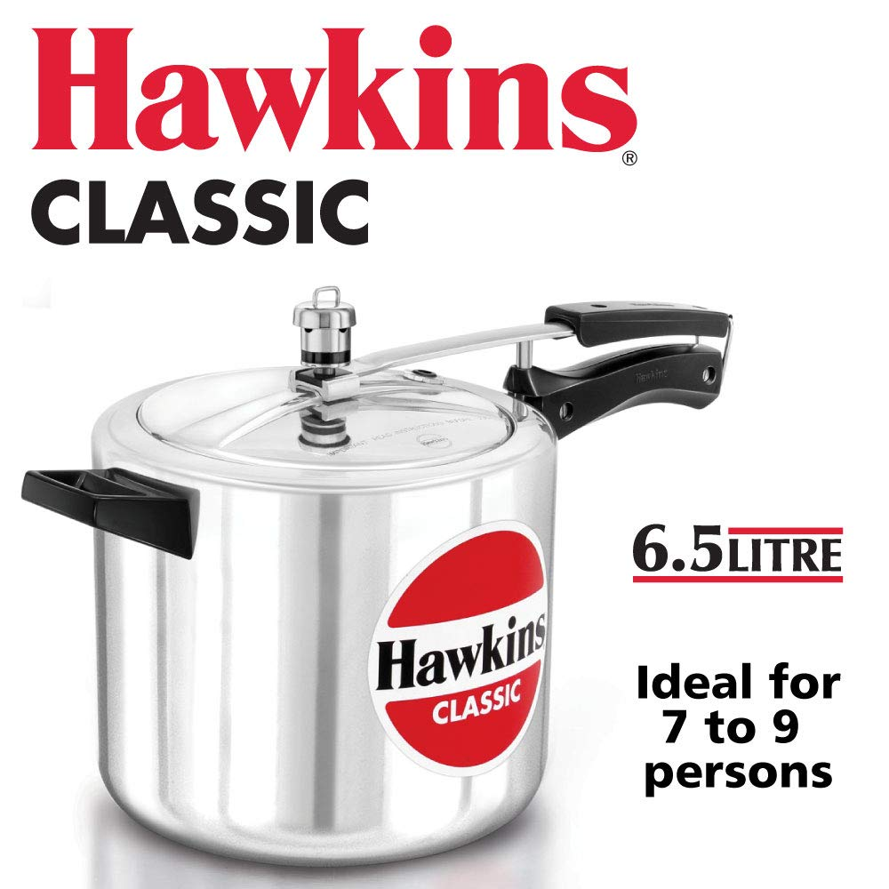 Hawkins Classic CL65 6.5-Liter New Improved Aluminum Pressure Cooker, Small, Silver