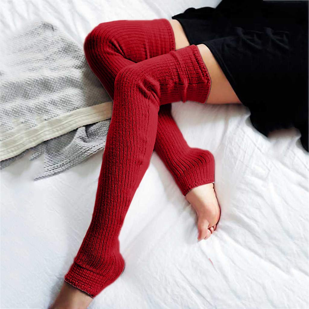 Pervobs Ladies Women Thigh High OVER the KNEE Socks Long Cotton Stockings Warm Leggings Sheer(Wine Red) by Pervobs Sock&Sockings (Image #2)
