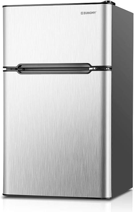 Euhomy nevera pequeña compacta con congelador, refrigerador ...