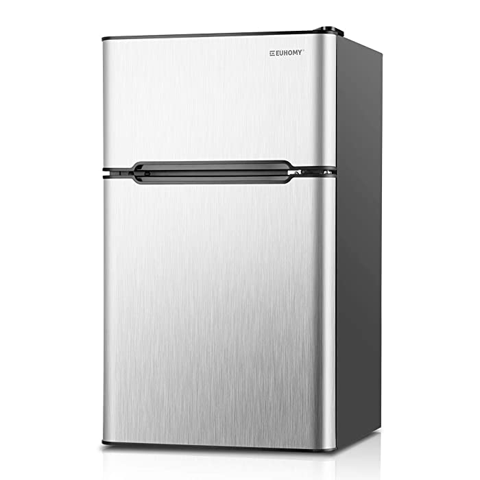 Euhomy Compact Mini Fridge with Freezer, 3.2 Cu.Ft 2-Door Upright Refrigerator with Freezer Ideal Food and Drink Storage Mini Refrigerator for Kitchen, Dorm, Apartment And Office.