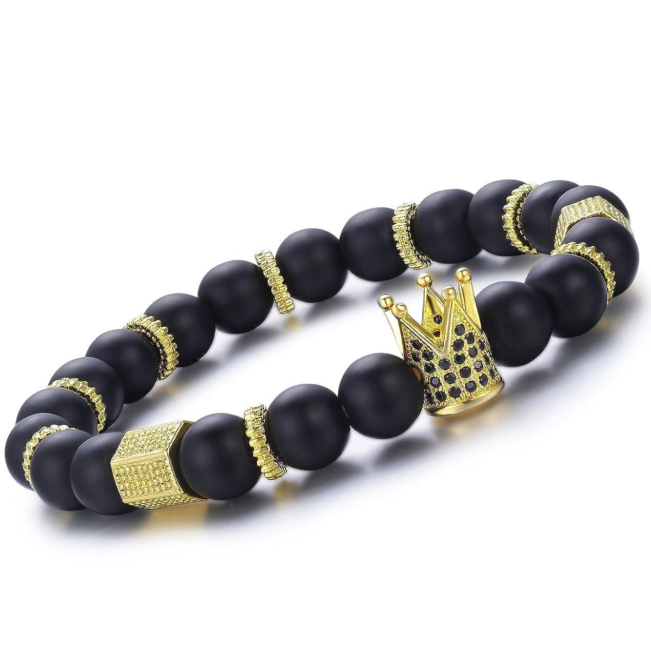 fb49ddae3f Lylymimi Bead Bracelet For Men Crown King Bracelets Black Matte Onyx Stone  Gold Tone Jewelry
