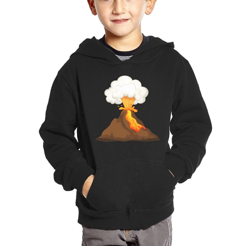 Small Hoodie Volcano Eruption Boys Casual Soft Comfortable Sweatshirts Pocket Hoodies