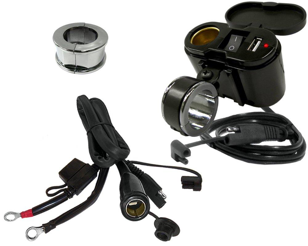 EKLIPES EK1-110BC Black Classic Cobra Ultimate Motorcycle USB Charging System