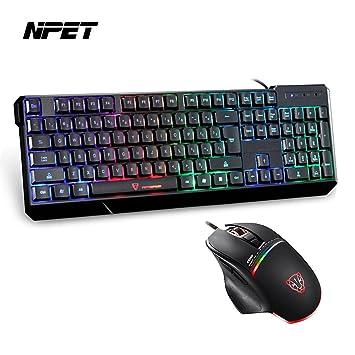 NPET K70 Mechanical sensación impermeable teclado Gaming Retroiluminado y V10 LED programable óptico Gaming ratón Combo