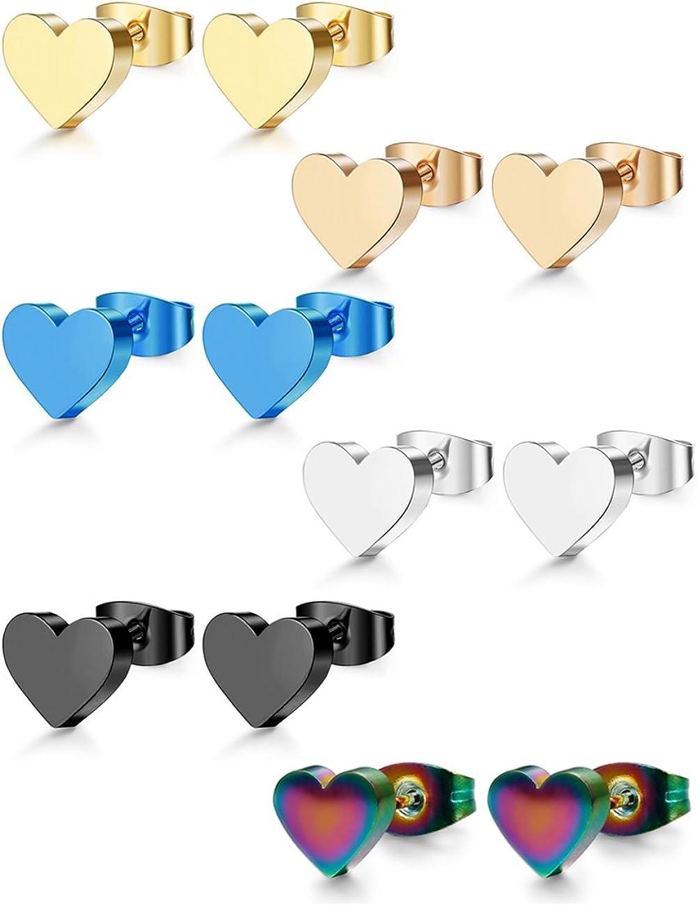 ORAZIO 1-6 Pairs Stainless Steel Heart Stud Earrings for Women Men