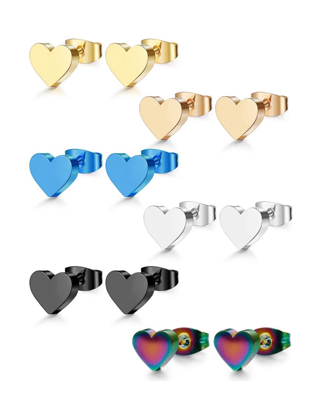 ORAZIO 6 Pair Stainless Steel Heart Stud Earrings for Women Men