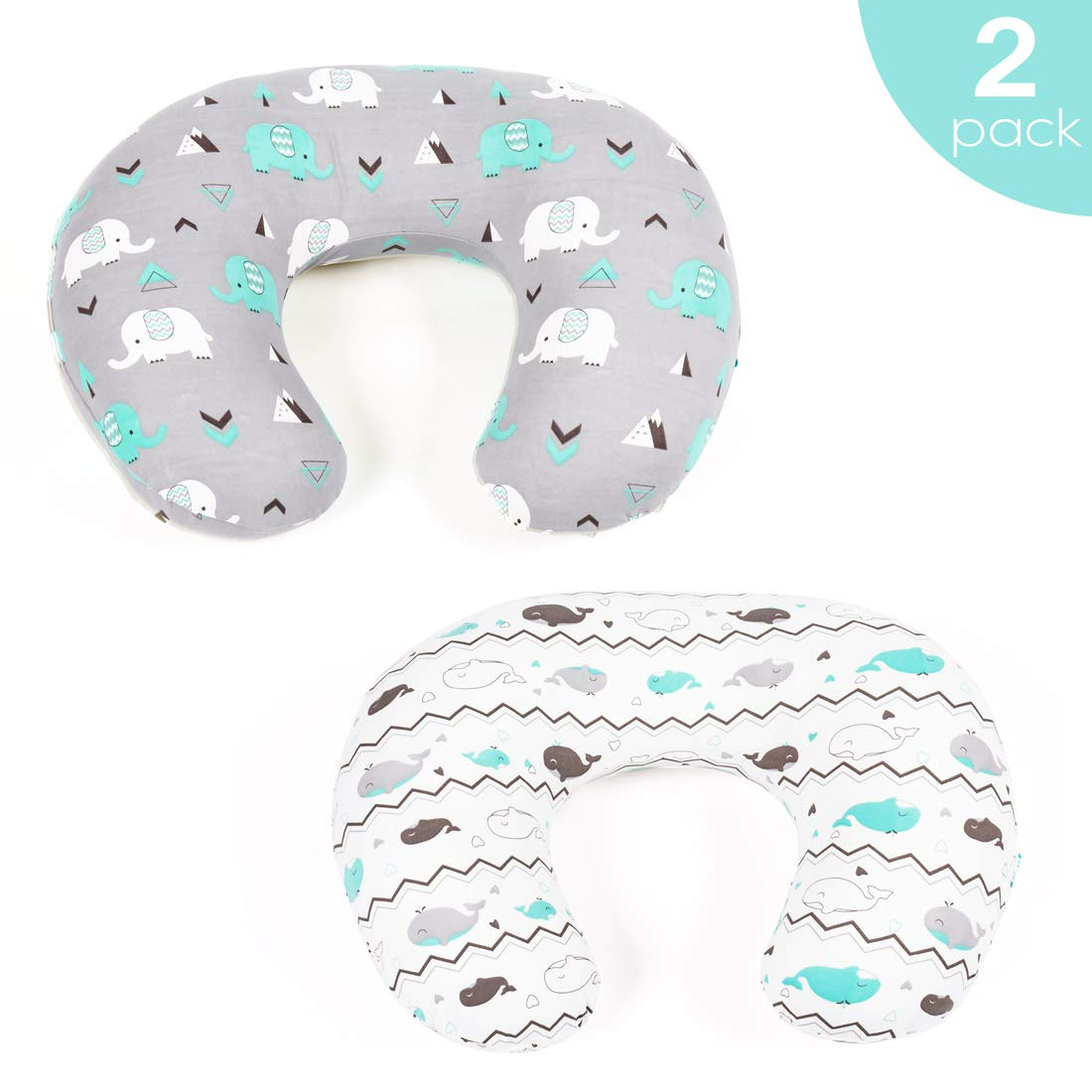 Stretchy Fitted Nursing Pillow Cover-Brolex 2 Pack Breastfeeding Pillow Slipcover for Nursing Mom's Unisex Boys Girls,Ultra Soft,Snug Fit,Elephant & Whale by BROLEX