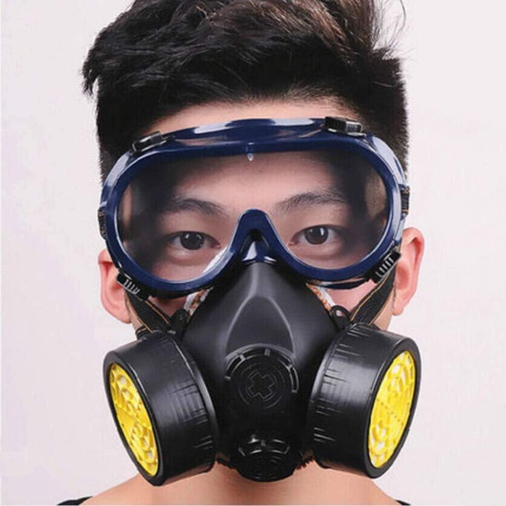 Sooiy Mascarilla respiratoria con Filtro de carbón Activado A, Gas Chemical Industrial protección de la Pintura en Spray máscara respiratoria Polvo Doble con Gafas