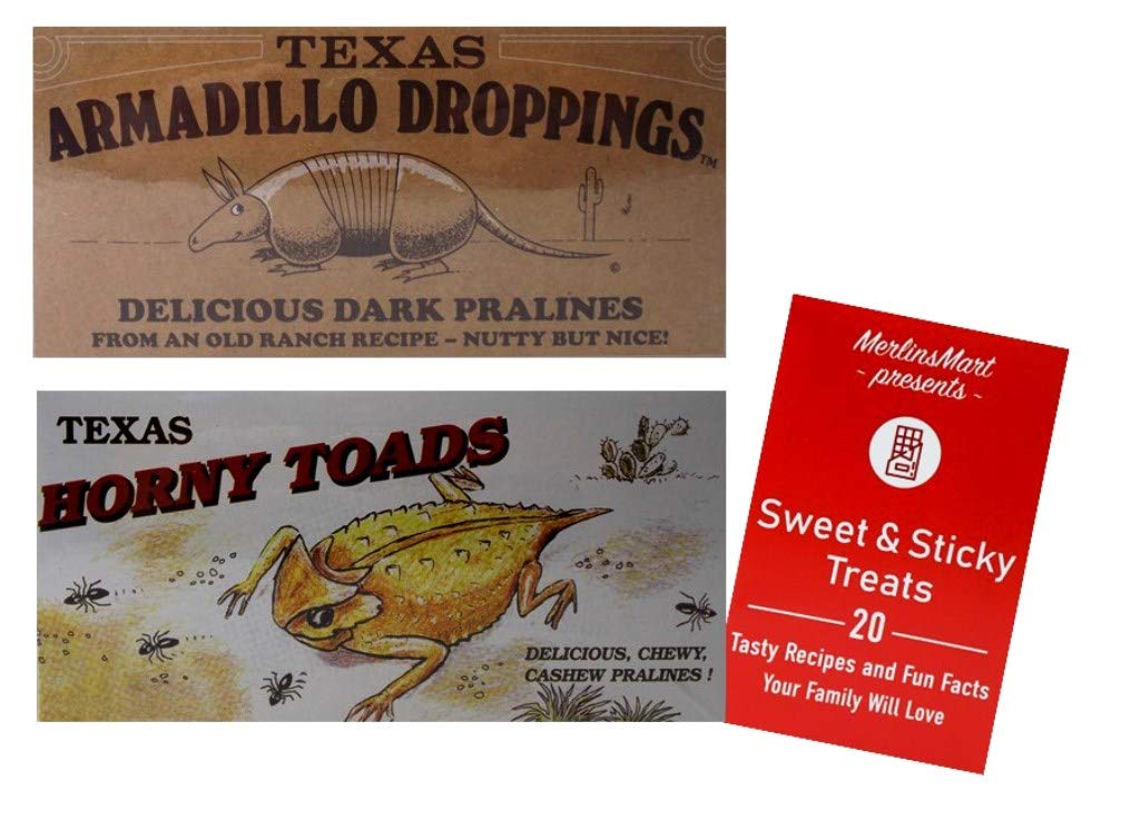 Texas Armadillo Droppings Delicious Dark Pecan Pralines and Texas Horny Toads Chewy Cashew Pralines Novelty Gift Box Plus Recipe Booklet Bundle - 12 Ounces each