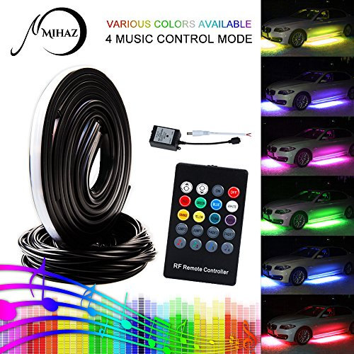 4 pcs Mihaz High Intensity Led Car Light Underglow Kit, Leds Glow Running RGB Colors Automotive Neon Tube Light Strip Under Car Wireless Remote Control Sound Active Function Led Car Lights(90-120cm) (Orange Tube Voice)
