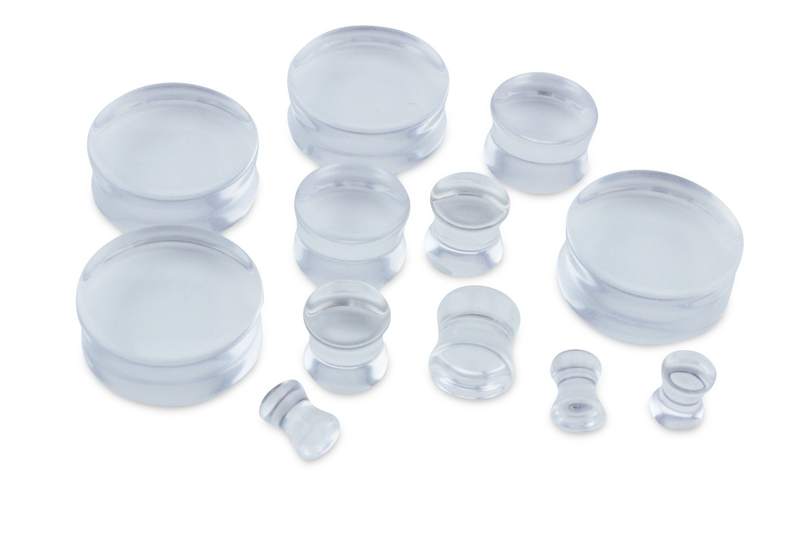 Clear Glass Double Flare Plugs (4G - 5mm) 1 Pair (2pc)