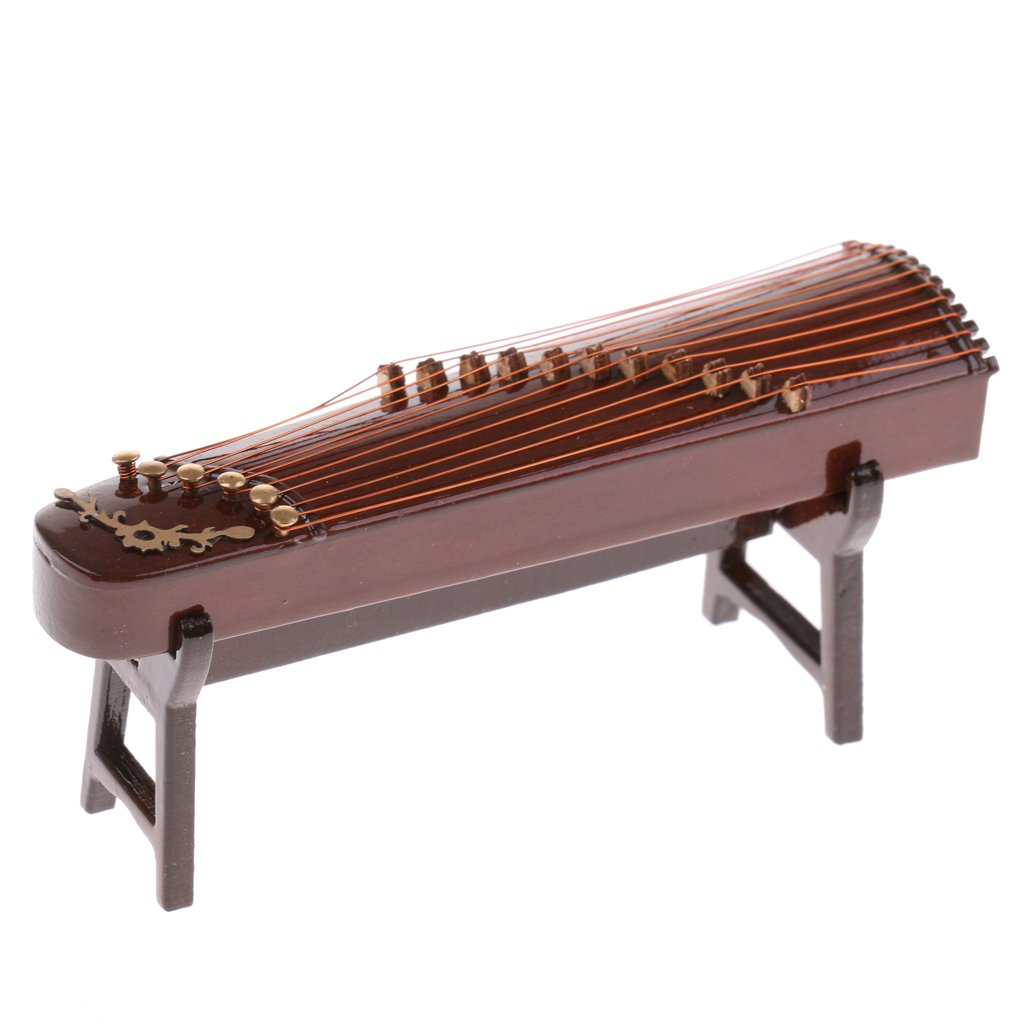 MonkeyJack Miniature Wood 11 strings Chinese Zither w/Box & Stand Music Instrument for 1/12 Dollhouse Music Room Decoration Accessories