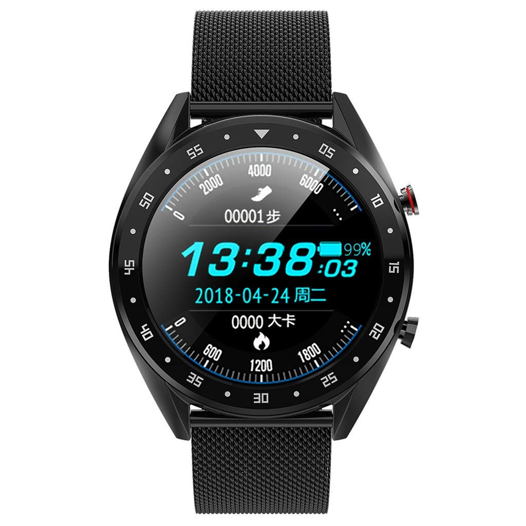 for Android iOS, Color Screen Sport Smart Watch, Heart Rate Blood Pressure Monitor Pedometer Tracker Smart Bracelet (B)