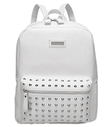 TUODAWEN Girl's Punk Synthetic Leather Backpack Rucksack (A-White)