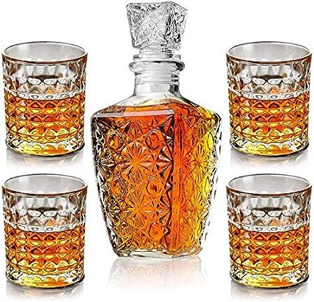 BSET BUY Juego de vasos decantadores de whisky en caja de regalo exclusiva, cristal original, juego de decantador para vodka o whisky escocés, 5 piezas