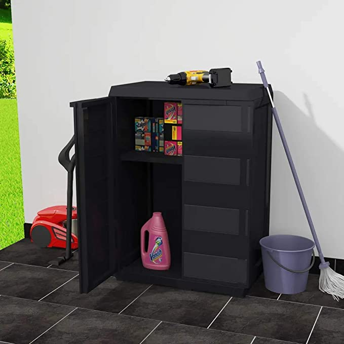GOTOTOP Low Garden Cabinet 65 x 38 x 87 cm Polypropylene Garden Cabinet with 2 Doors and 1 Adjustable Vented Shelf with Drainage Grooves Black and Grey