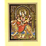 Ambaji / Goddess Amba / Ambe Mataji / Maa Sheravali / Devi Amba - Hindu God Poster with Golden Foil - with border mount - 10 x 7.5 inches by India Bazaar