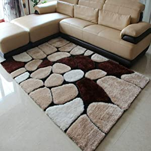 Z&H Soft Fluffy Shag Area Rugs,Modern Thickend Geometric High Pile Carpet for Living Room Bedroom Coffee Table Entrance Rug-a 140x200cm(55x79inch)
