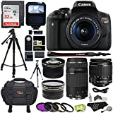 Canon EOS Rebel T6i 24.2 MP Digital SLR Camera 18-55mm STM Lens + Canon EF 75-300mm f/4-5.6 III Lens + Polaroid .43x HD Wide Angle Lens & 2.2X Telephoto Lens + Lexar 32 GB + Tripod + Accessory Bundle