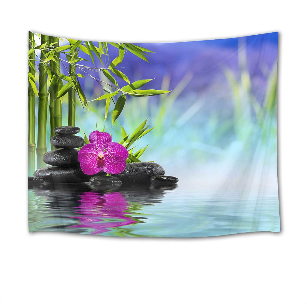 HVEST Zen Spa Tapestry,Orchid Tapestry Wall Hanging,Purple Flower Black Massage Stones in Green Bamboo Forest Wall Blanket for Bedroom,Living Room,Dorm Decor,60 W X 40 H INCH