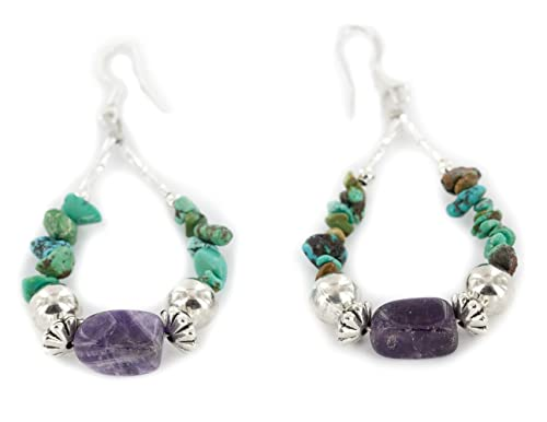 90Tag Certified Silver Hooks Dangle Turquoise Amethyst Hoop Native Earrings 18138 Made By Loma Siiva