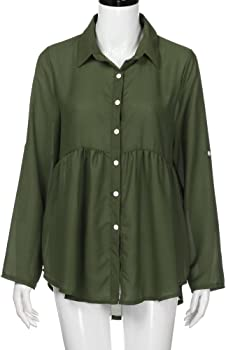 2660e5f6947 T-Shirt Women Solid Plus Size Button Long Sleeve Chiffon Work Tops Blouse