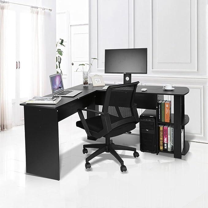 Yosoo Forma - L Mesa Escritorio de Computadora, PC, Ordenador Portátil con Estantería de Libros, Para Esquina de Oficina y Estudio de Casa (Negro): ...