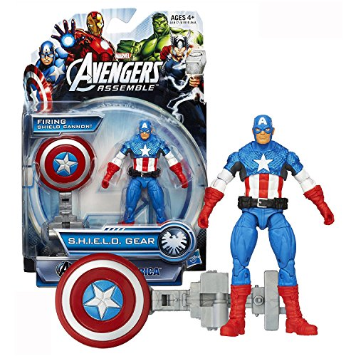 Hasbro Year 2013 Marvel Avengers Assemble S.H.I.E.L.D. Gear Series 4 Inch Tall Action Figure - Shield Blast CAPTAIN AMERICA with Shield Launcher and Shield