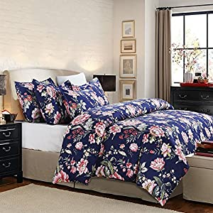 Vaulia Lightweight Microfiber Duvet Cover Set, Floral Pattern Design, Navy - King Size