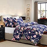 Amazon Price History for:Vaulia Lightweight Microfiber Duvet Cover Set, Floral Pattern Design, Navy - King Size