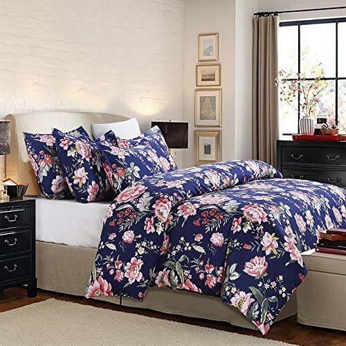 Vaulia Lightweight Microfiber Duvet Cover Set, Floral Pattern Design, Navy - Queen Size - Floral Bed Set