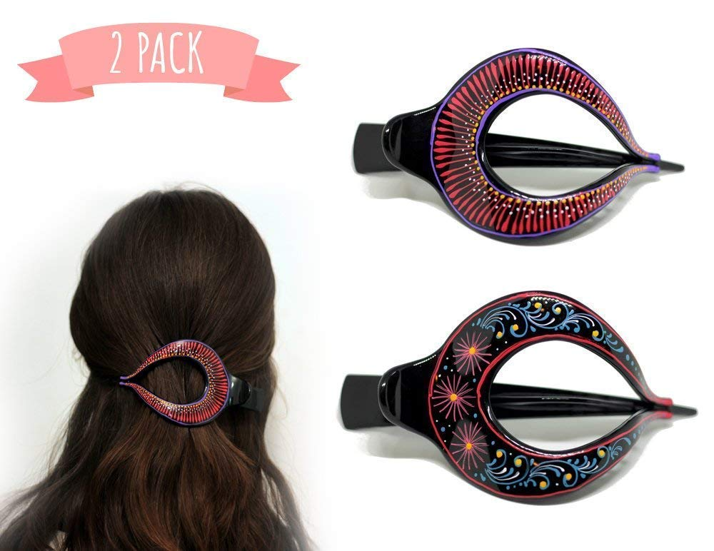 Hair Barrette Hand painted Hair Clips. Styling for Women & Girls Made Easy This Attractive Hair Accessory Can Be Used As a Bun Maker Or a Hair Grip. For thick & thin hair. 2 Pcs Uniquely Hand Crafted
