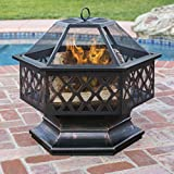 Best Choice Products Hex Shaped Fire Pit for Outdoor Home Garden Backyard - Black