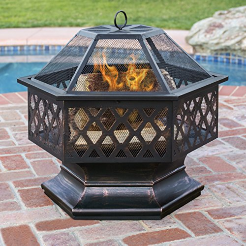 Best Choice Products Hex Shaped Fire Pit for Outdoor Home Garden Backyard - Black by Best Choice Products