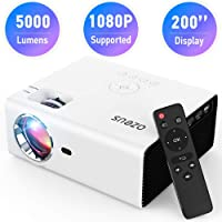 AZEUS RD-822 Video Projector, 5000 Lux Support 1920x1080 with Built-in 5W Sound Speaker, Compatible with PS4, HDMI, VGA, USB, Laptop, Phone, TV Box, Mini Portable HDMI Projector [2020 Upgrade Model]
