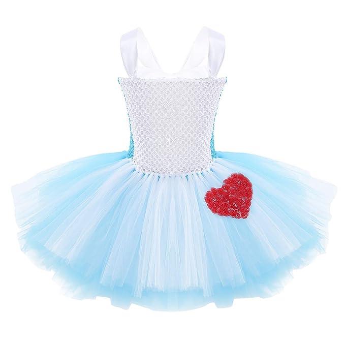 TiaoBug Disfraz Niña de Princesa Alicia Vestido Tutú Elegante Azul ...