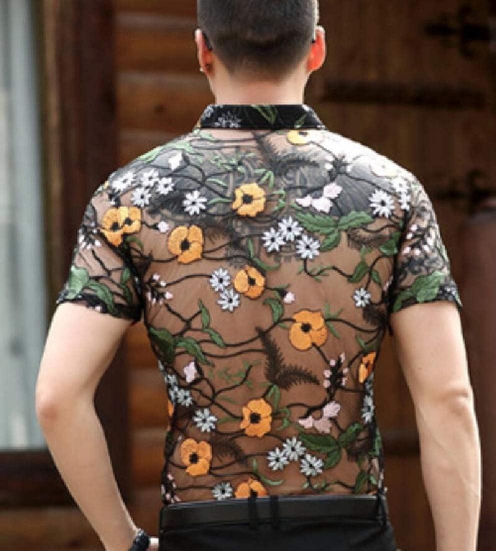CBTLVSN Mens Fashion Short Sleeve Floral Button Up See Through Mesh Shirt