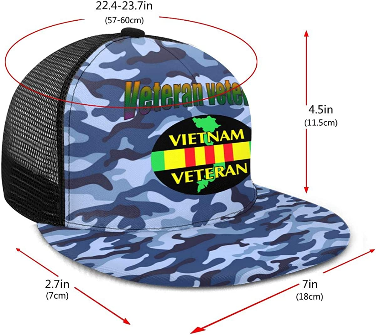 Vietnam Veteran Classic Grid Hop Flat Along Baseball Hats Snapback Men Women Cap Adjustable