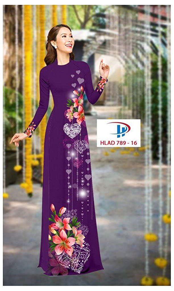 All Size Traditional Vietnamese Long Dress Collections with Pants ADVN00312 Ao Dai Silk 3D