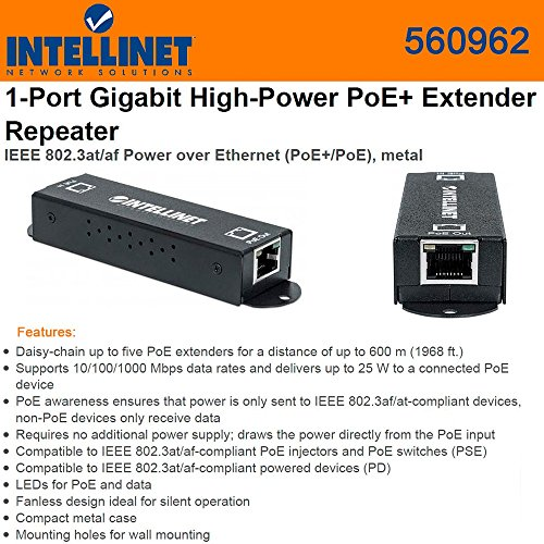 Intellinet Extender Repeater (560962) 1-Port Gigabit High-Power PoE+ by Intellinet