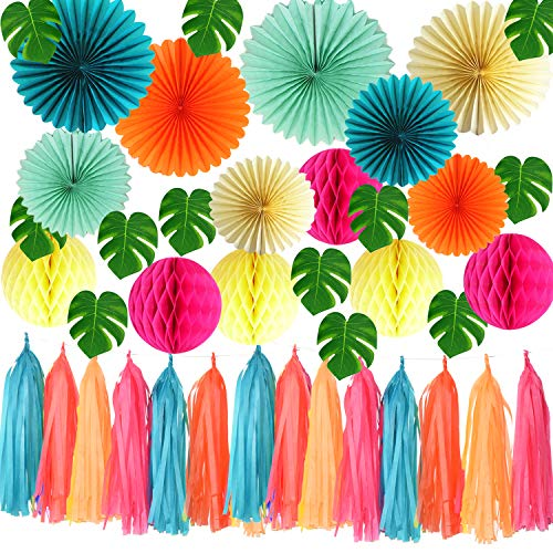 (Qian's Party Tropical Party, Luau Party, Hawaiian Party Theme, Summer Party Tropical Palm Leaves, Flamingo Party Decorations, Pool Party, Birthday Party)