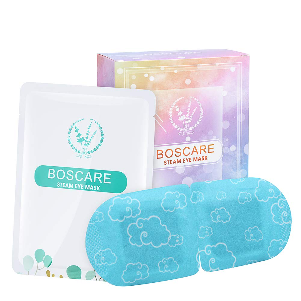 BOSCARE Steam Eye Mask 7PCS Gentle Warming Eye Mask Moisturizing Lavendar Scented For Tired and Puffy Eyes,Dark Circles,Stye Relief,Headache Self-Heating Sleep Eye Mask,Blue Masking Pack