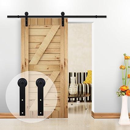 Merveilleux CCJH 4FT Country Steel Single Sliding Barn Interior Wood Door Hardware Black