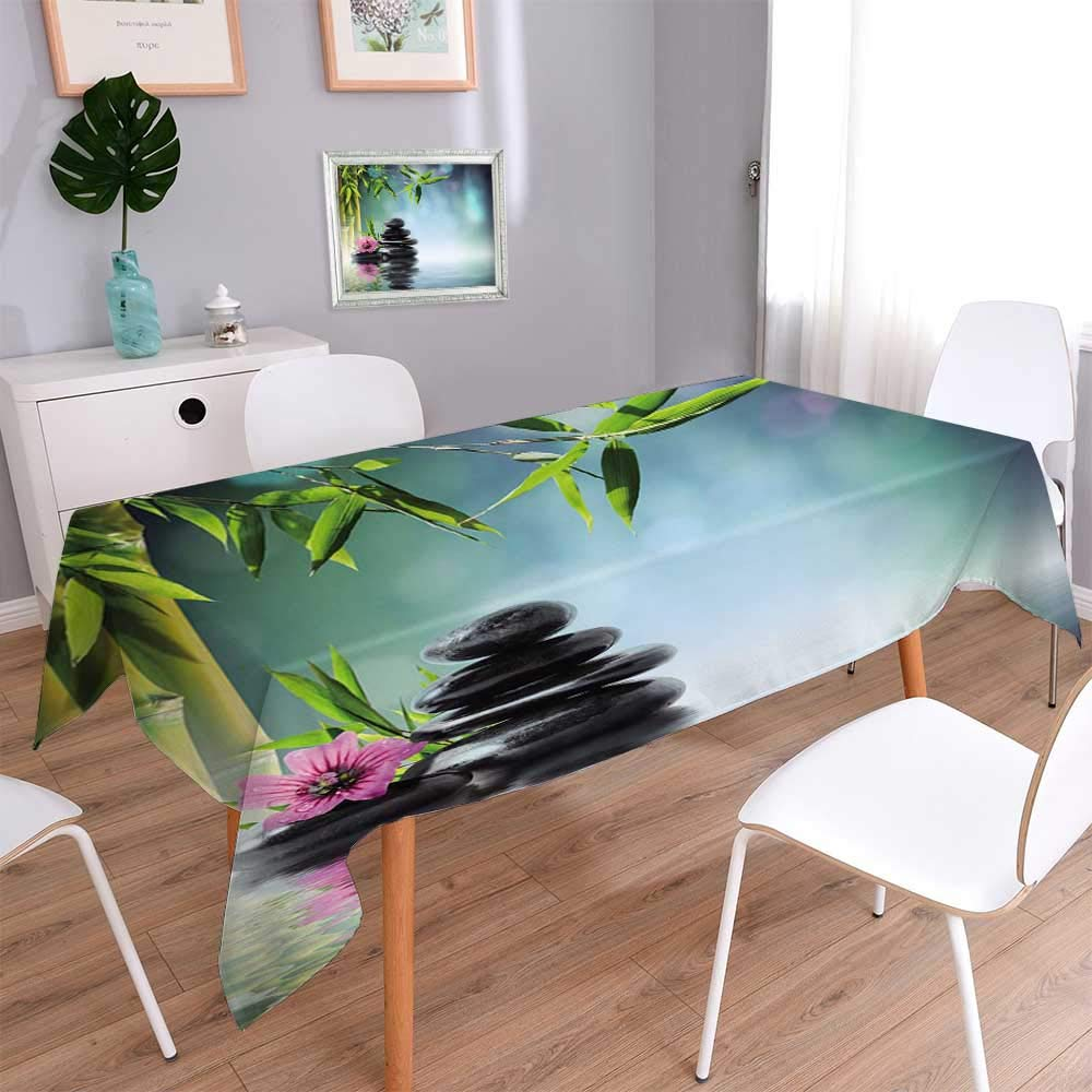 PINAFORE HOME Indoor/Outdoor Spillproof Tablecloth Mouse Pad Unique ed Mousepad Spa Tower Stone and Hibiscus with BambooOn The Water Blurred Stitc Table Cover/Oblong, 60 x 102 Inch
